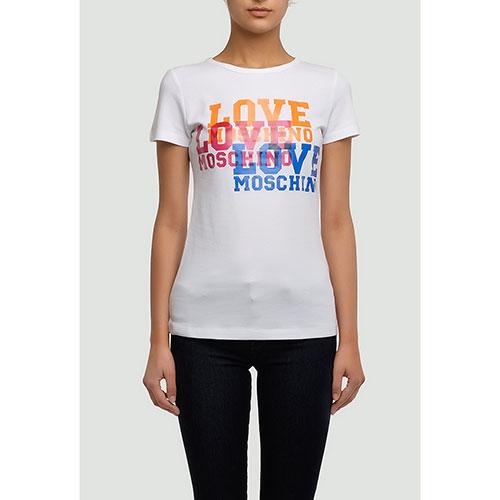 Белая футболка Love Moschino с ярким принтом, фото