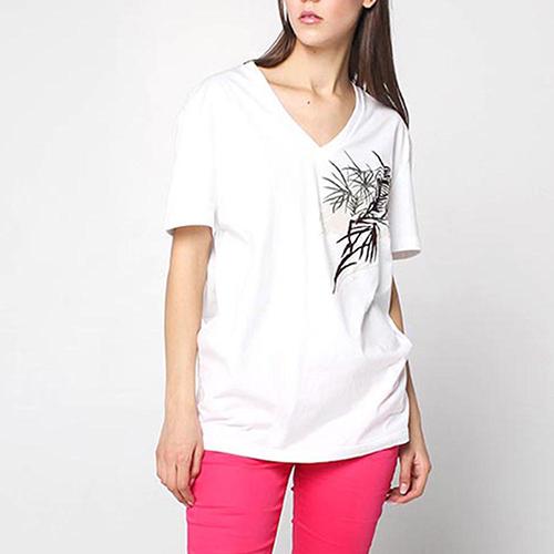 Белая футболка Alexander McQueen с растительным принтом, фото