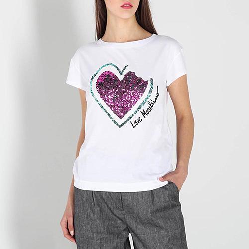 Белая футболка Love Moschino с пайетками, фото