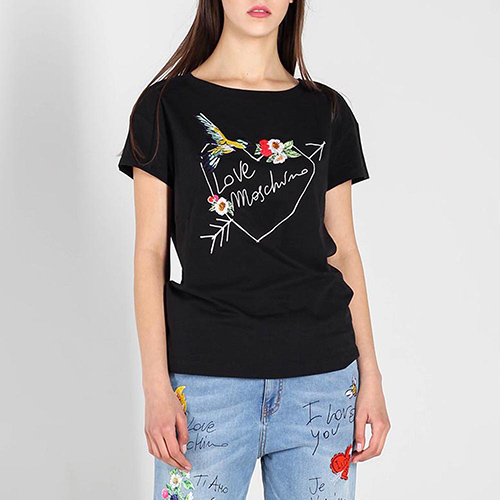 Черная футболка Love Moschino с разноцветной вышивкой, фото