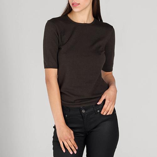 Топ P.A.R.O.S.H. коричневого цвета с короткими рукавами, фото