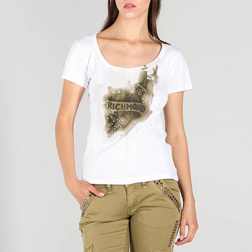 Белая футболка John Richmond с брендовым принтом, фото