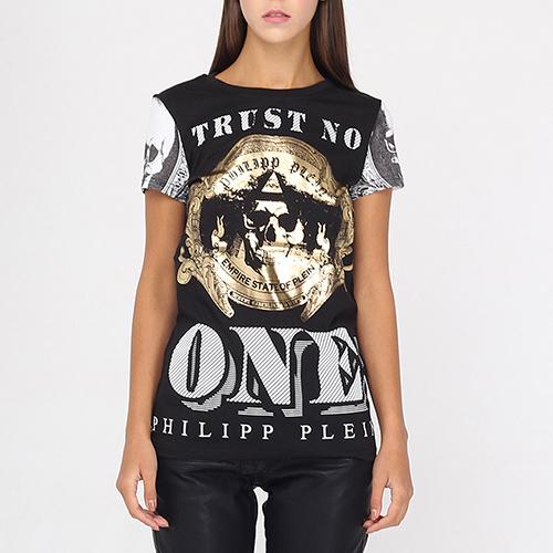 Черная футболка Philipp Plein с золотистым и белым принтом, фото