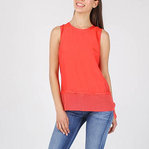 Топ Armani Jeans красного цвета с шифоновой вставкой, фото