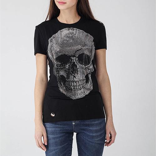 Черная футболка Philipp Plein с черепом из страз, фото