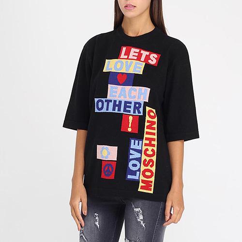 Черная футболка оверсайз Love Moschino с брендовой аппликацией, фото
