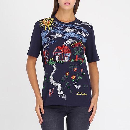 Синяя футболка Love Moschino с разноцветной вышивкой, фото