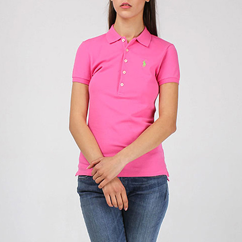 Футболка-поло Polo Ralph Lauren розового цвета с зеленым логотипом, фото
