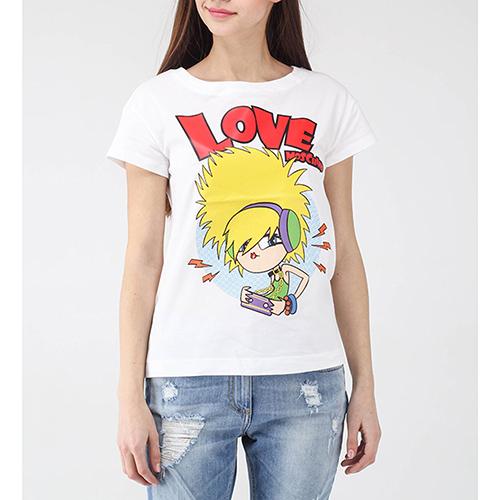 Белая футболка Love Moschino с мультяшным принтом, фото