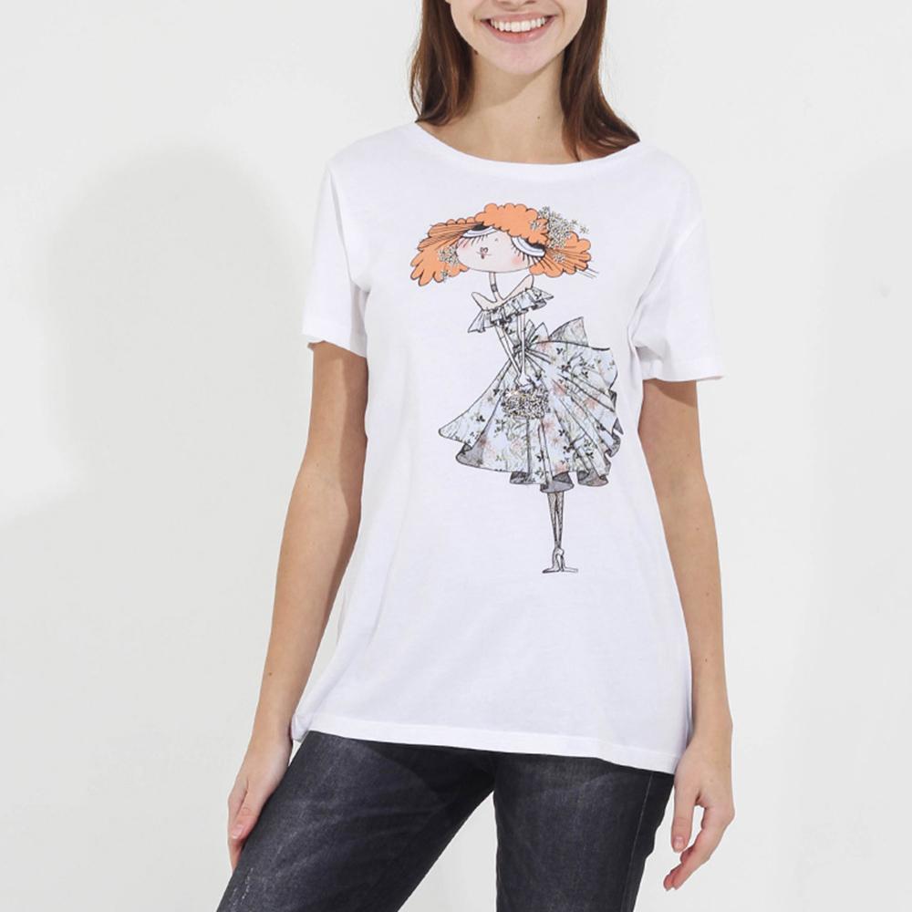 Белая футболка Emma&Gaia с принтом-девочкой
