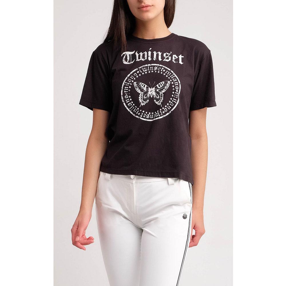 Черная футболка Twin-Set с принтом-бабочкой