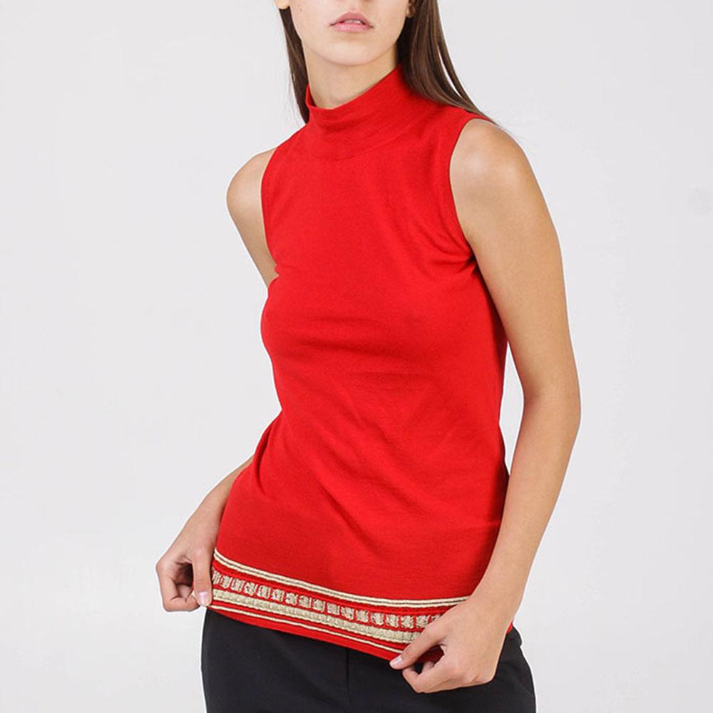 Топ Roberto Cavalli красного цвета с золотистой вышивкой