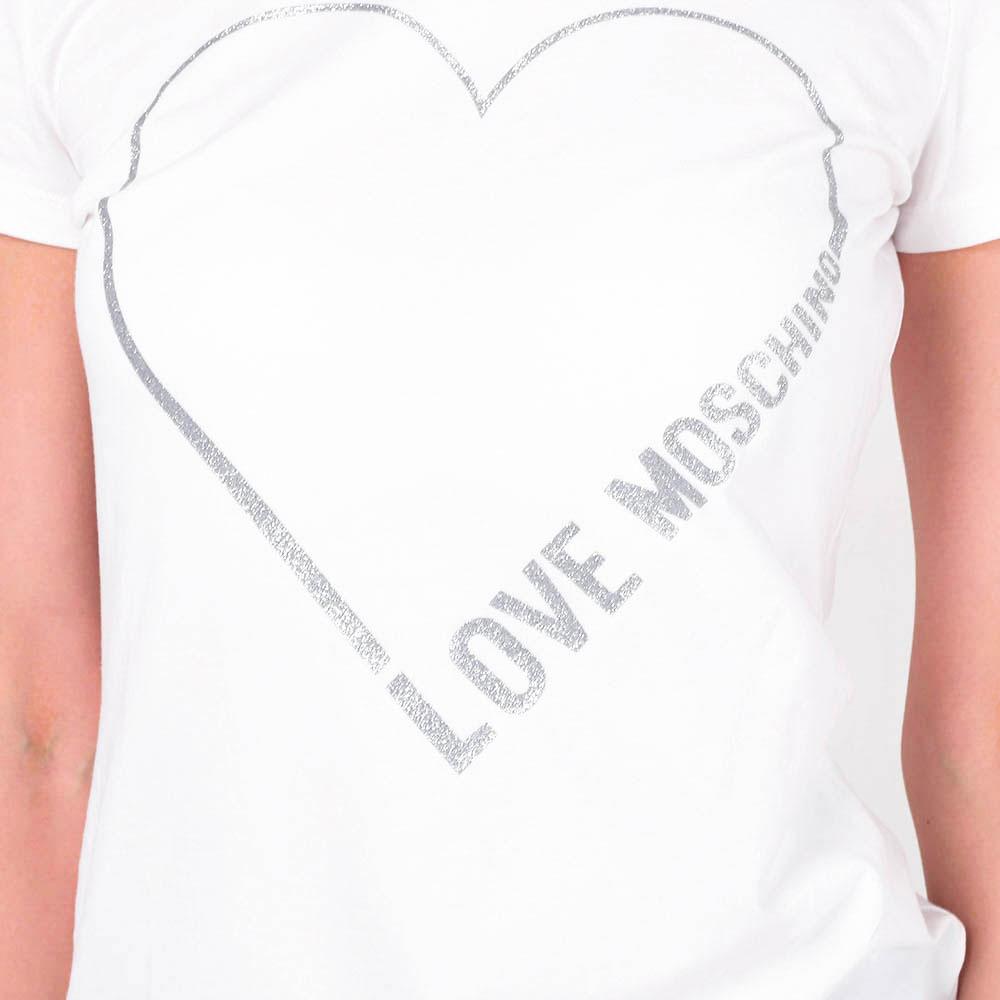 Футболка белая Love Moschino с сердцем