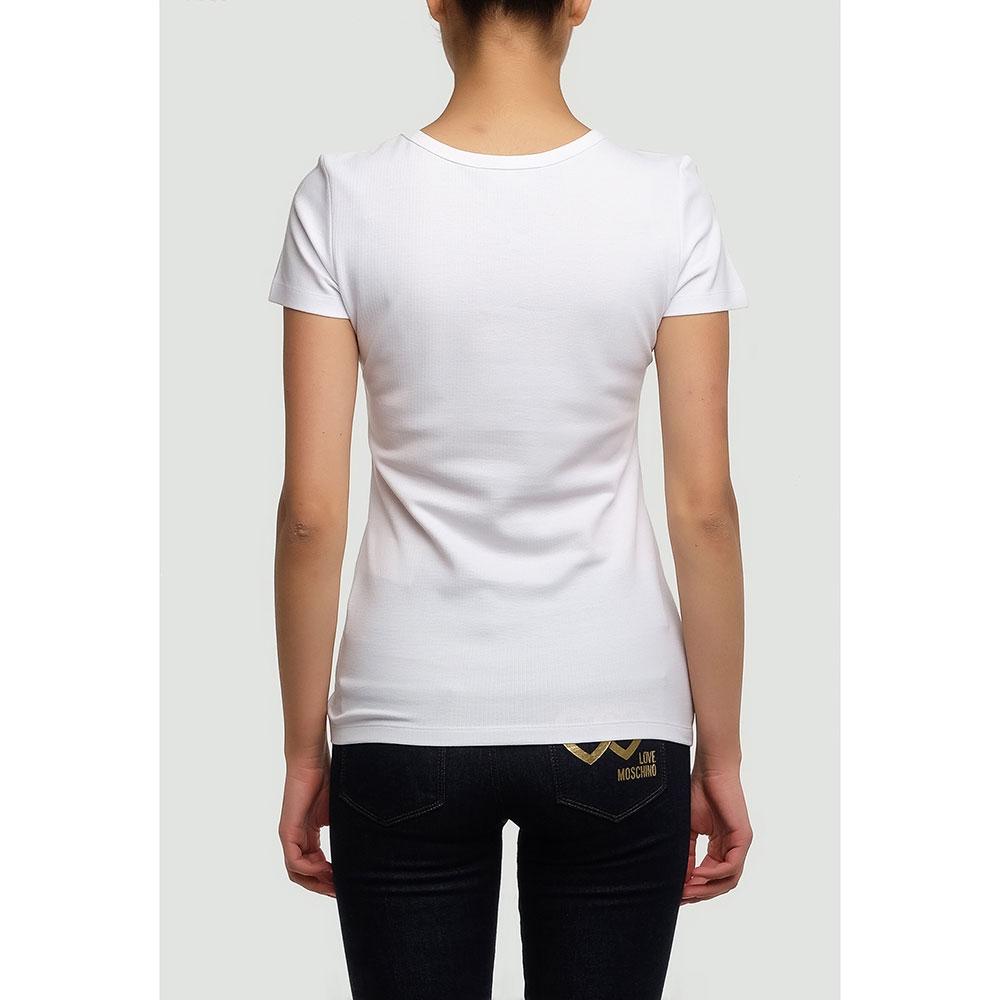 Белая футболка Love Moschino с ярким принтом