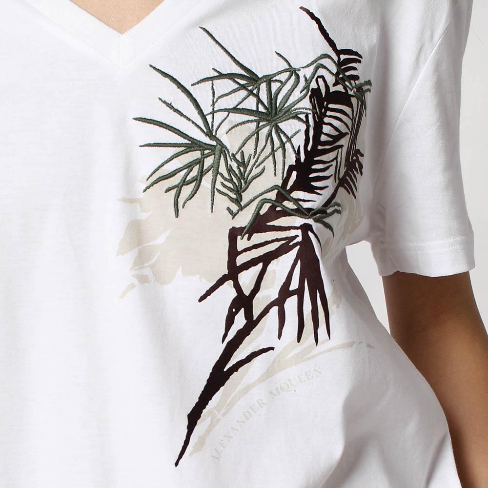 Белая футболка Alexander McQueen с растительным принтом