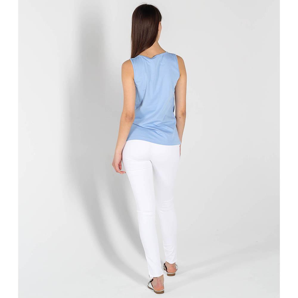 Майка Love Moschino голубого цвета с длинной бахромой