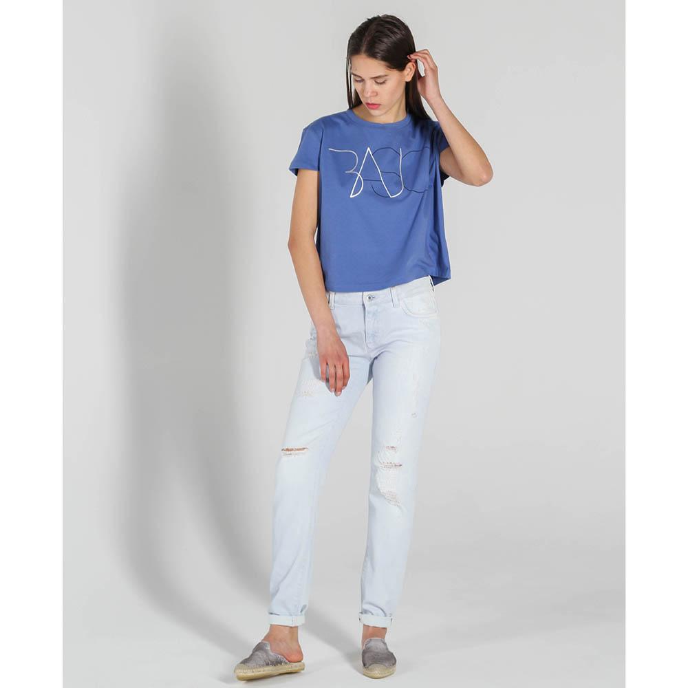 Синяя трикотажная футболка Trussardi Jeans