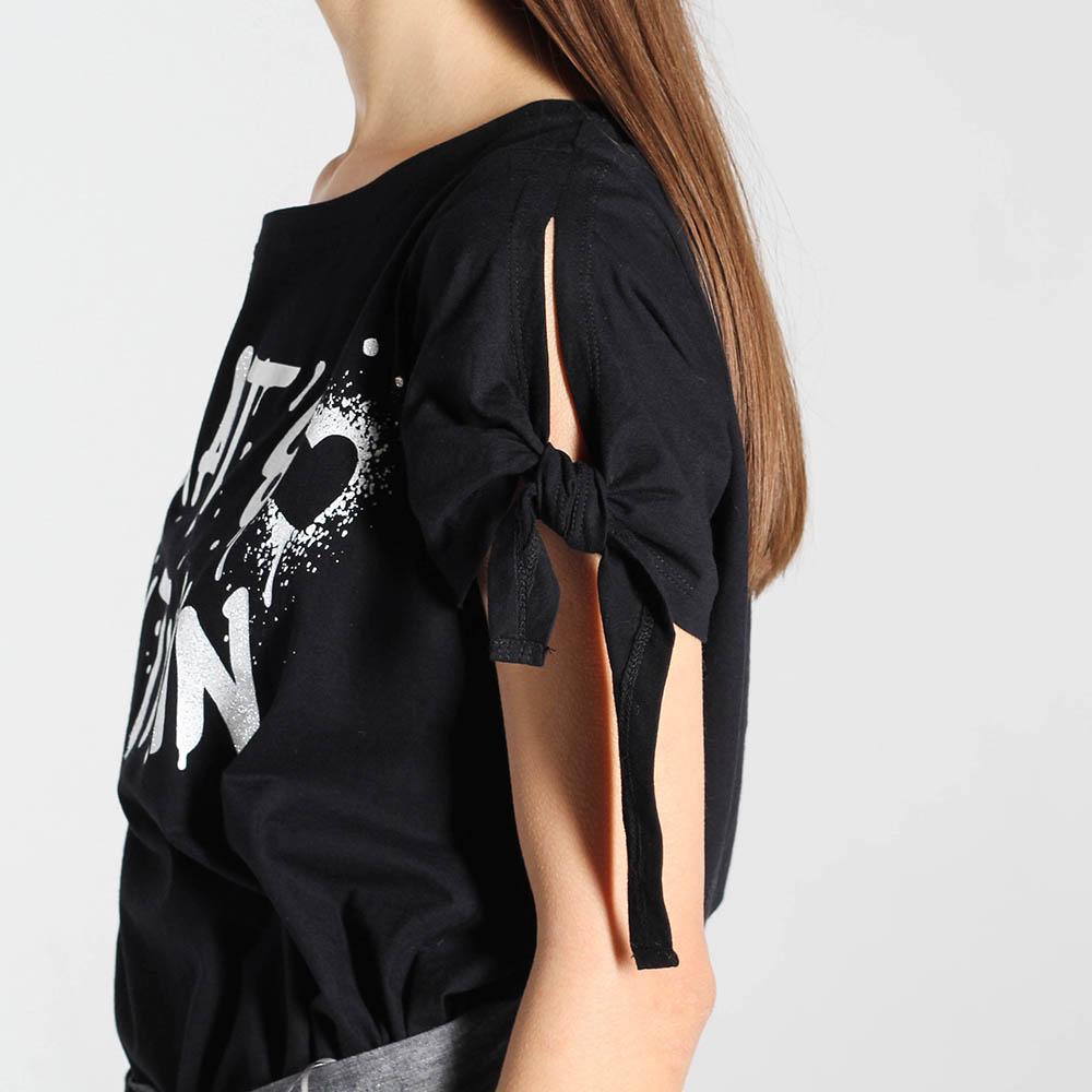 Черная футболка Twin-Set Simona Barbieri с завязками на рукаве