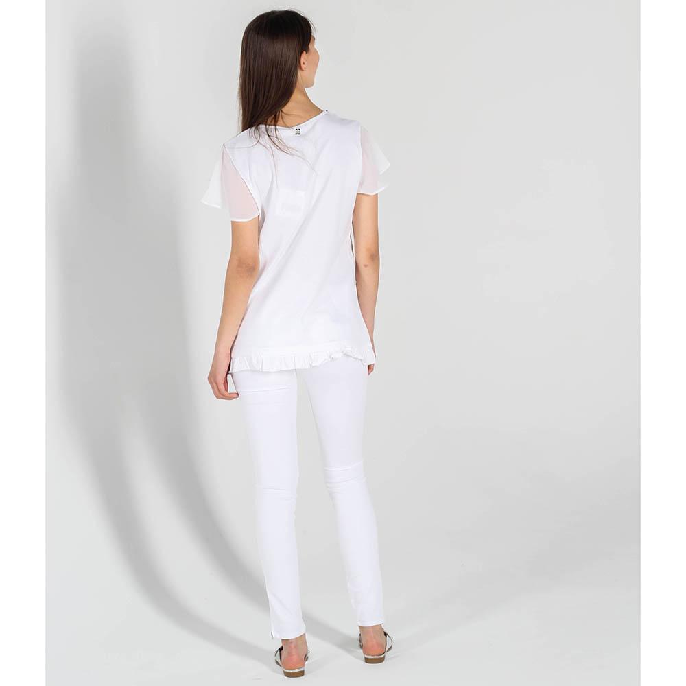 Белая футболка Twin-Set Simona Barbieri с вышивкой и прозрачными рукавами