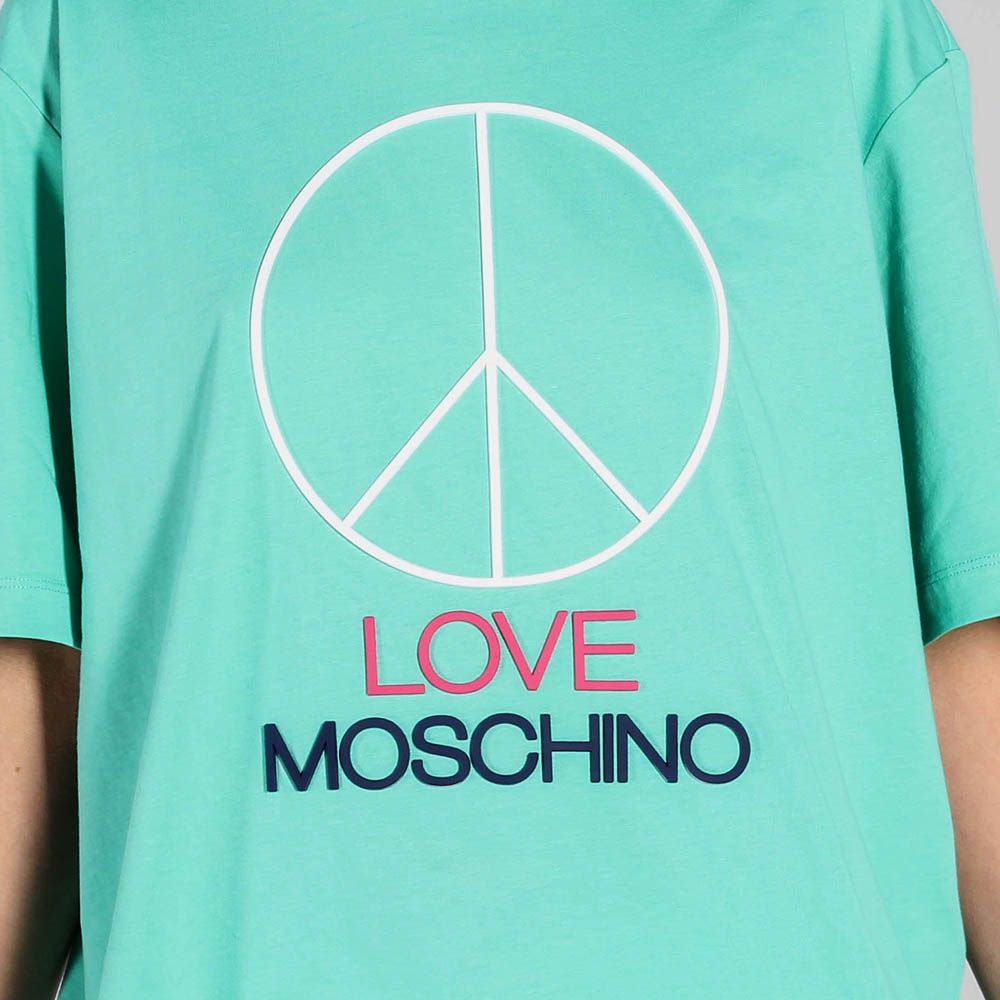 Футболка Love Moschino мятного цвета с брендовым декором