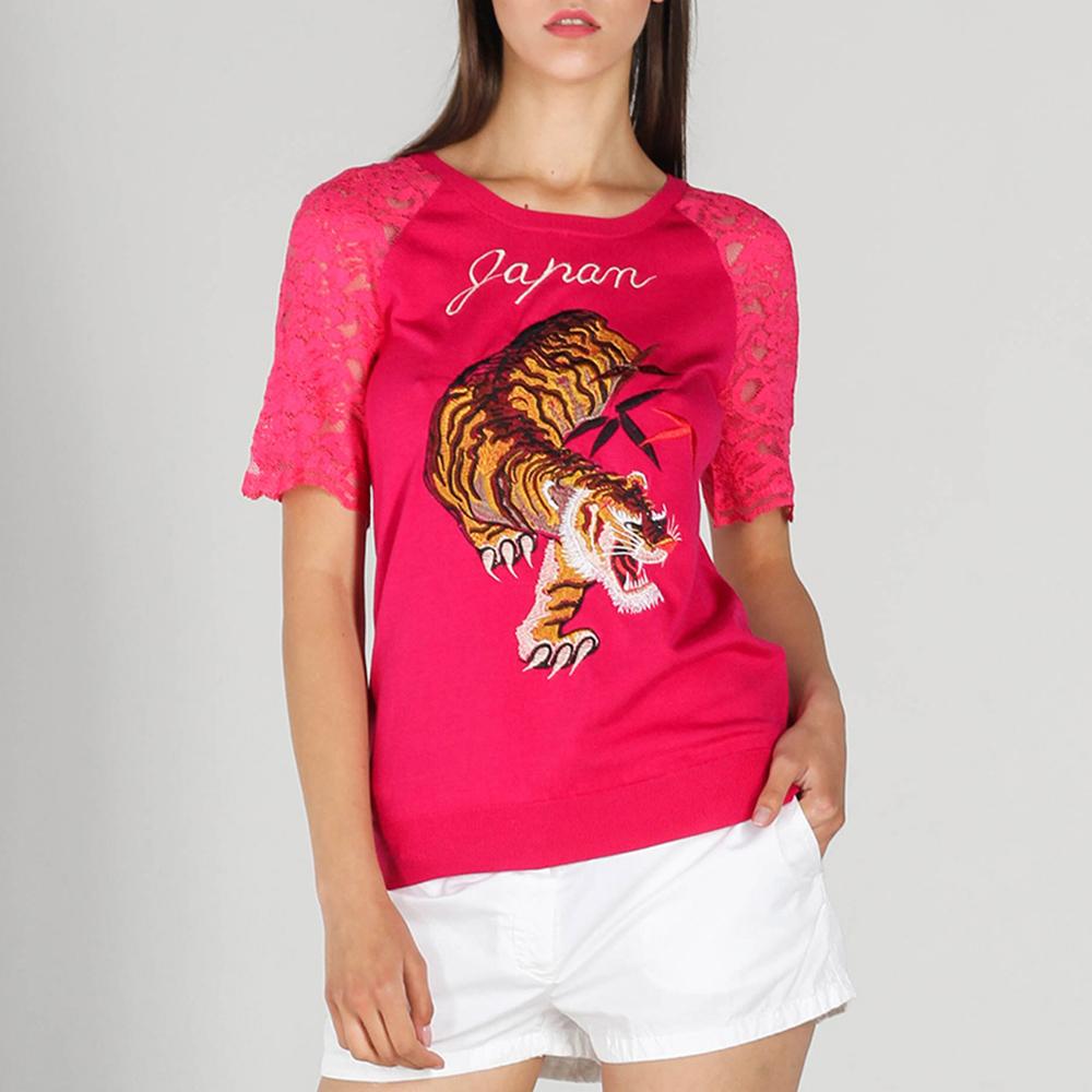 Шелковая футболка P.A.R.O.S.H. с кружевными рукавами