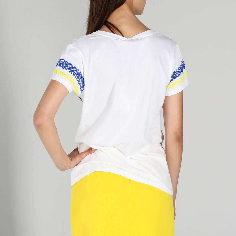 Футболка P.A.R.O.S.H. белого цвета с синими и желтыми пайетками