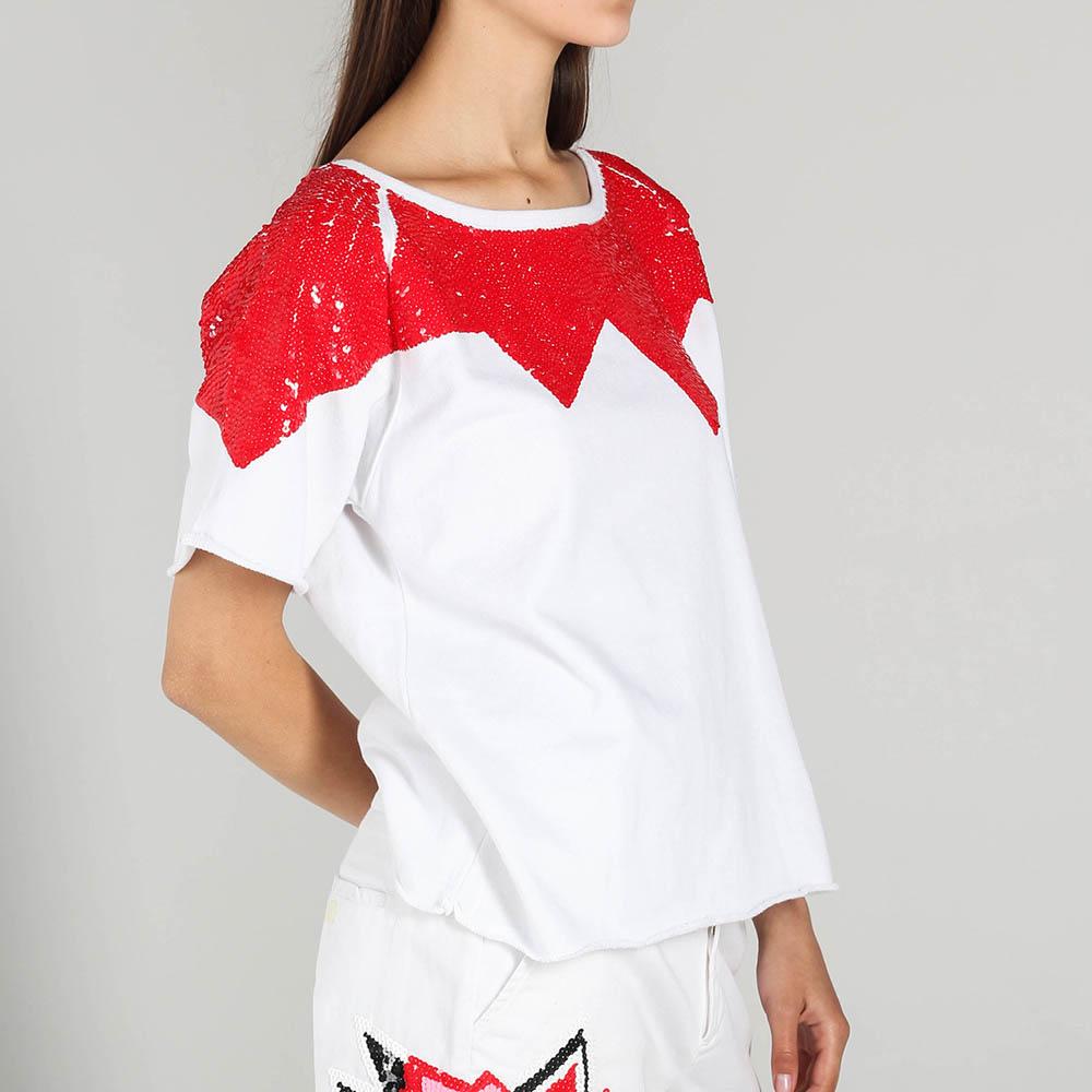 Коттоновая футболка P.A.R.O.S.H. с вышивкой красными пайетками