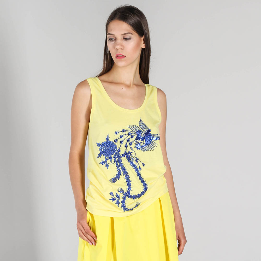 Желтая майка P.A.R.O.S.H. с синей вышивкой пайетками