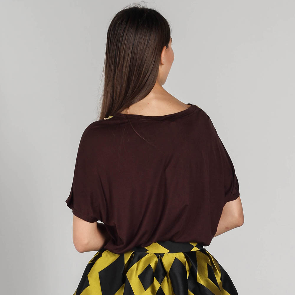 Коричневая футболка оверсайз P.A.R.O.S.H. с желтыми пайетками