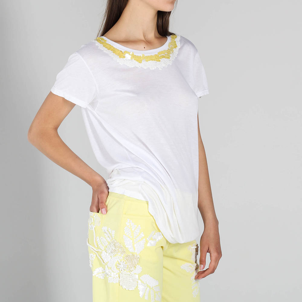 Белая футболка P.A.R.O.S.H. с желтыми пайетками
