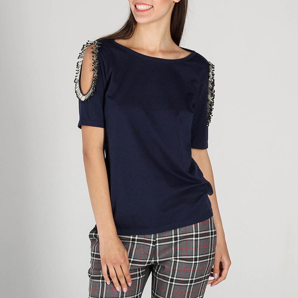 Синяя футболка P.A.R.O.S.H. с бисером на рукавах