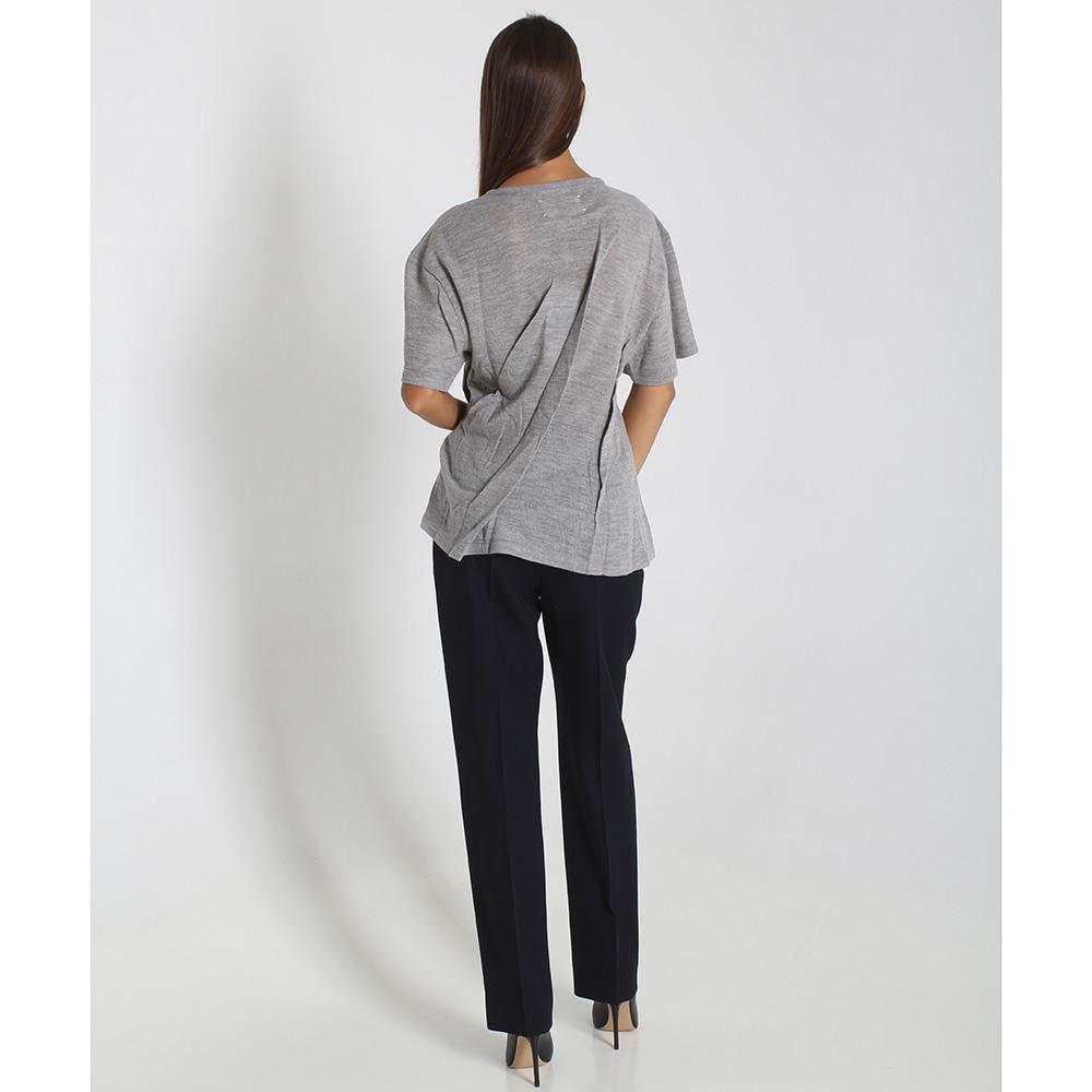 Ассиметричная футболка из тонкой шерсти Maison Margiela серого цвета