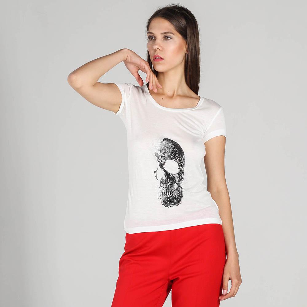 Белая футболка John Richmond с черепом