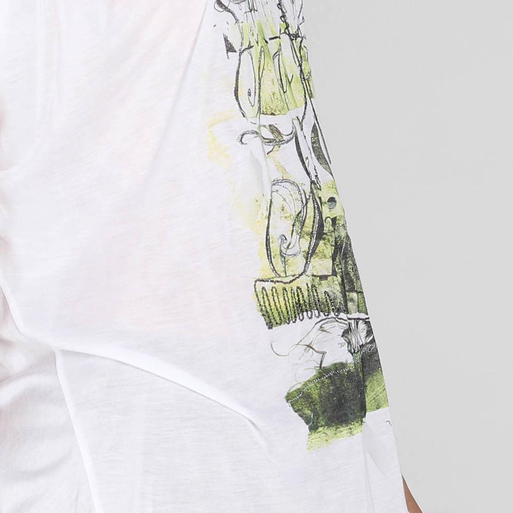 Футболка оверсайз John Richmond белая с зеленым рисунком