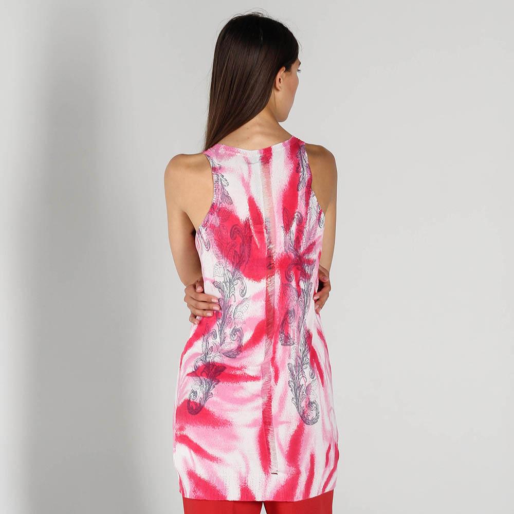 Длинный шелковый топ John Richmond розового цвета