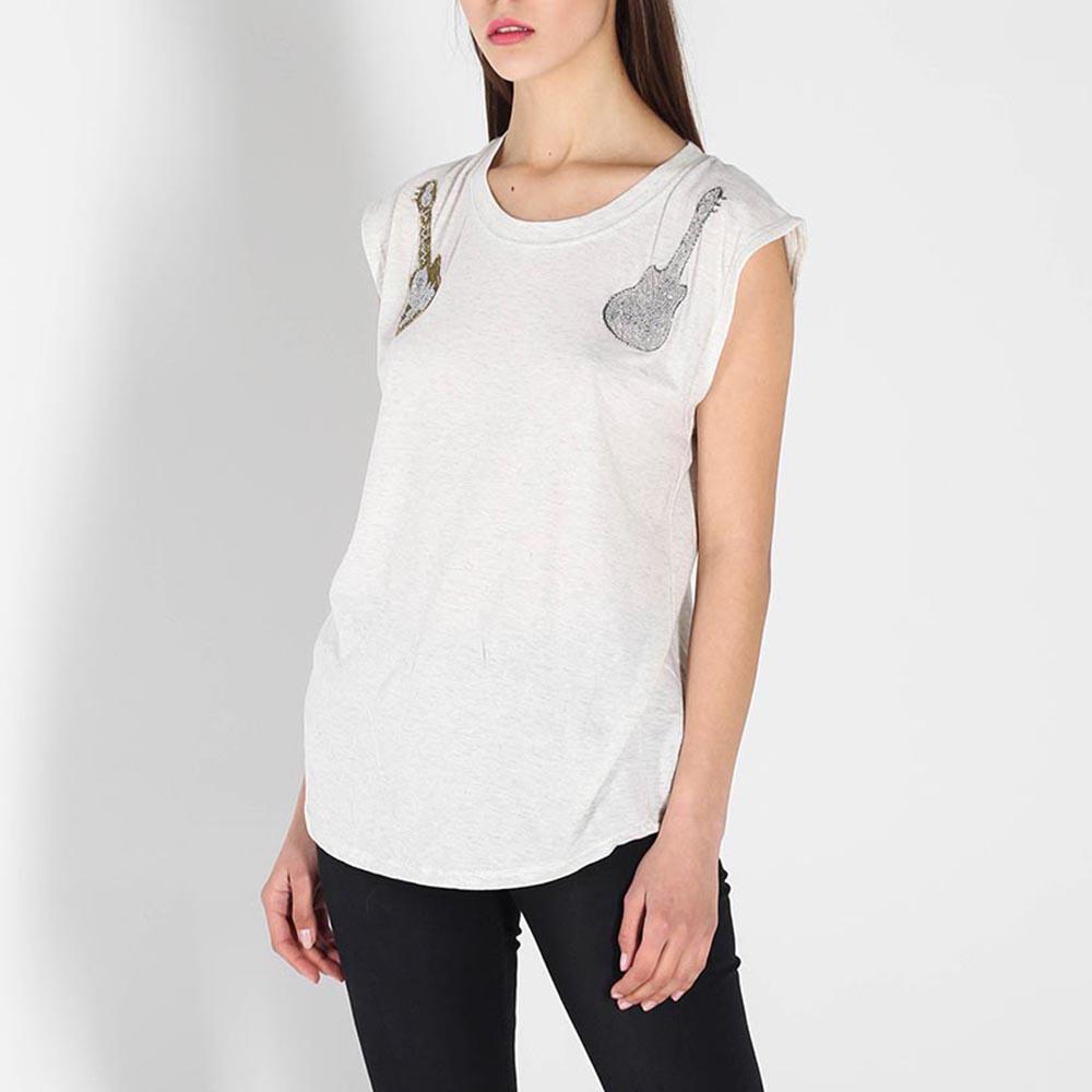 Белая футболка Zadig Voltaire с вышивкой бисером