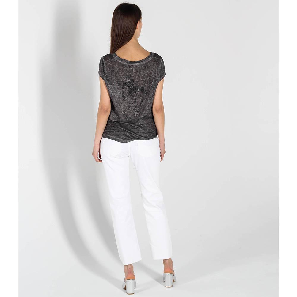 Серая полупрозрачная футболка Zadig Voltaire с глубоким вырезом