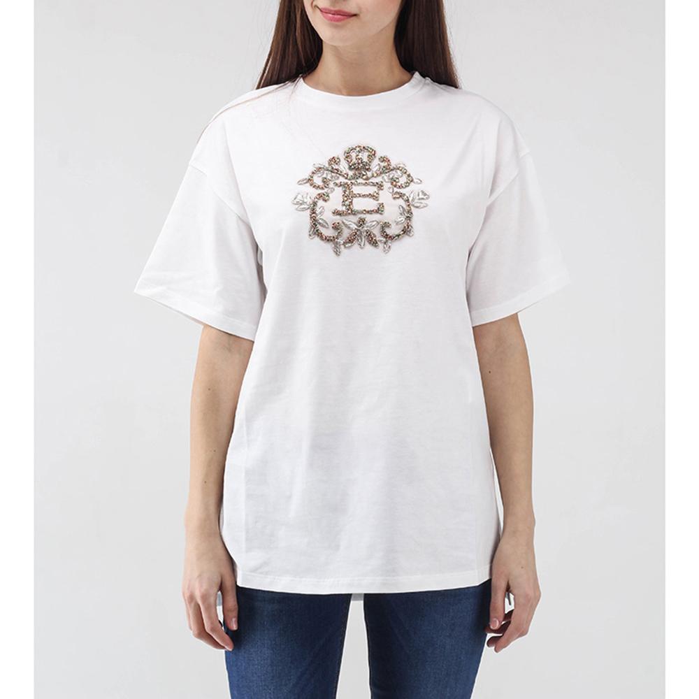 Белая футболка Ermanno Scervino с вышивкой лентами и стразами