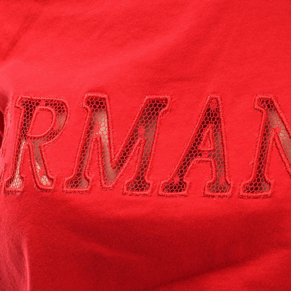 Красная футболка Ermanno Scervino с прозрачной брендовой вставкой