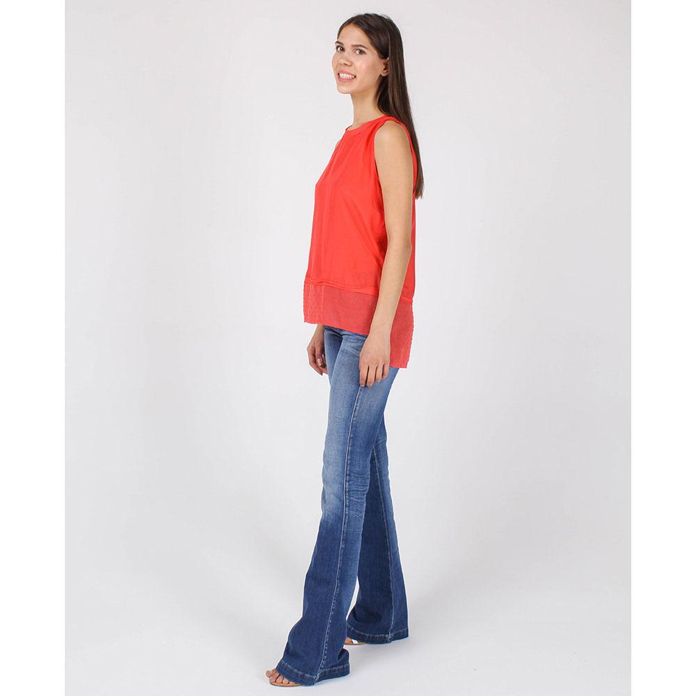 Топ Armani Jeans красного цвета с шифоновой вставкой