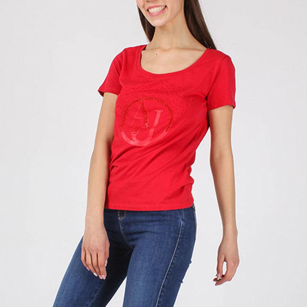 Красная футболка Armani Jeans с брендовой вышивкой бисером