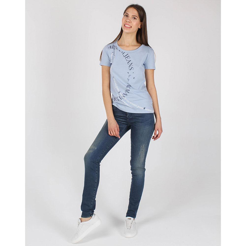 Футболка Armani Jeans голубого цвета с брендовым принтом