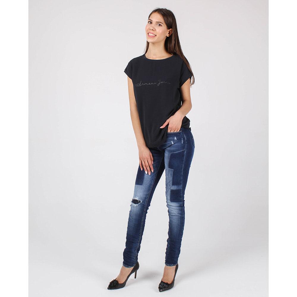 Синяя футболка Armani Jeans с брендовой надписью