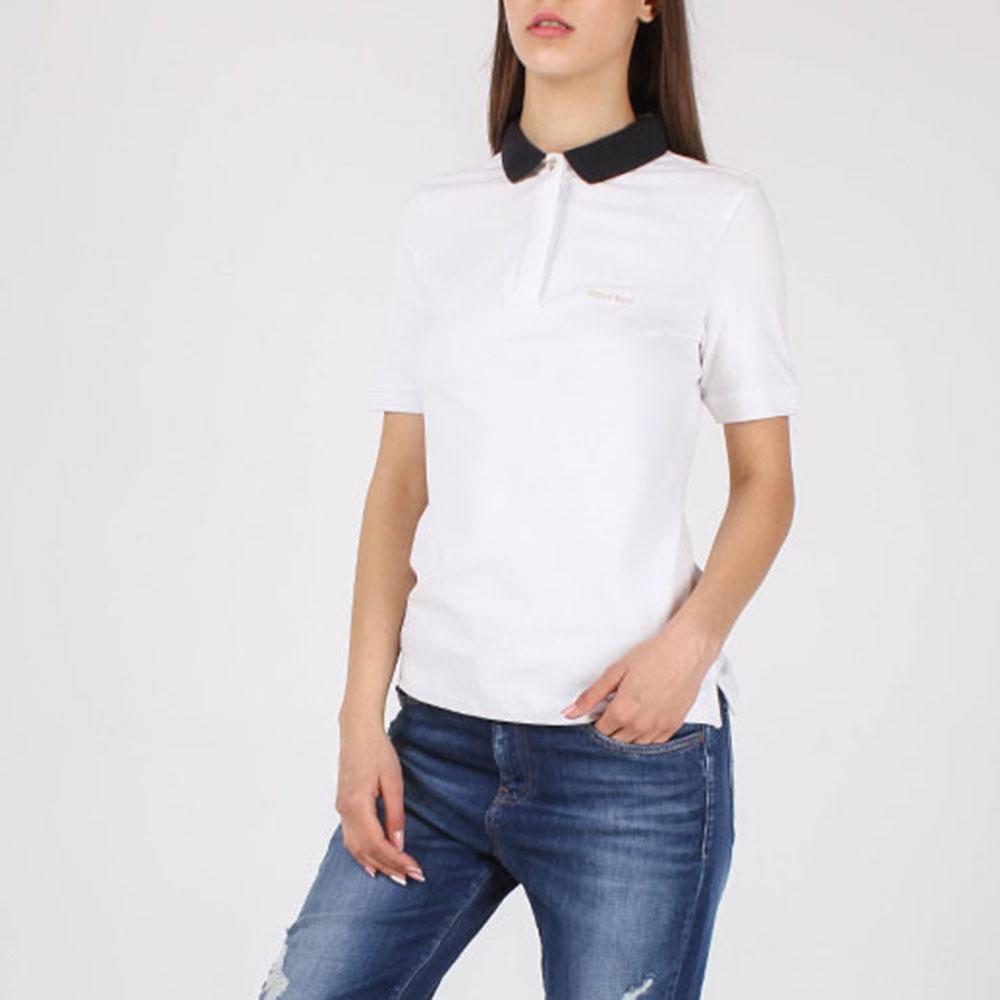 Футболка-поло Armani Jeans белая с синим воротником