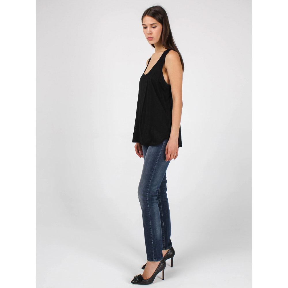 Майка-синглет Polo Ralph Lauren из полупрозрачной ткани черного цвета