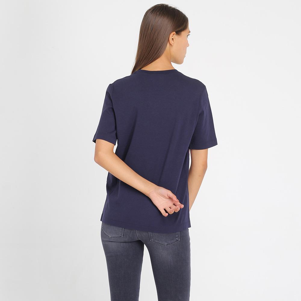 Синяя футболка Love Moschino с разноцветной вышивкой