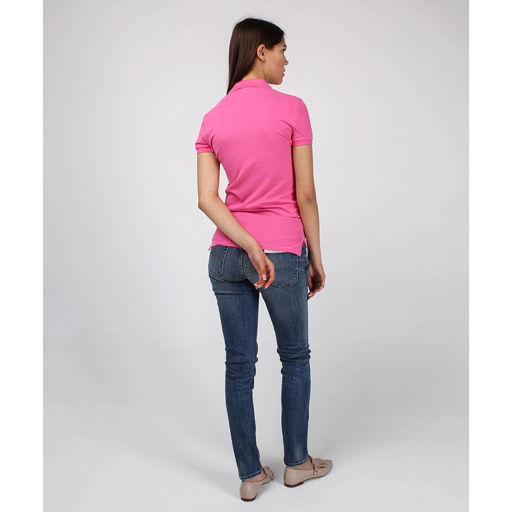 Футболка-поло Polo Ralph Lauren розового цвета с зеленым логотипом