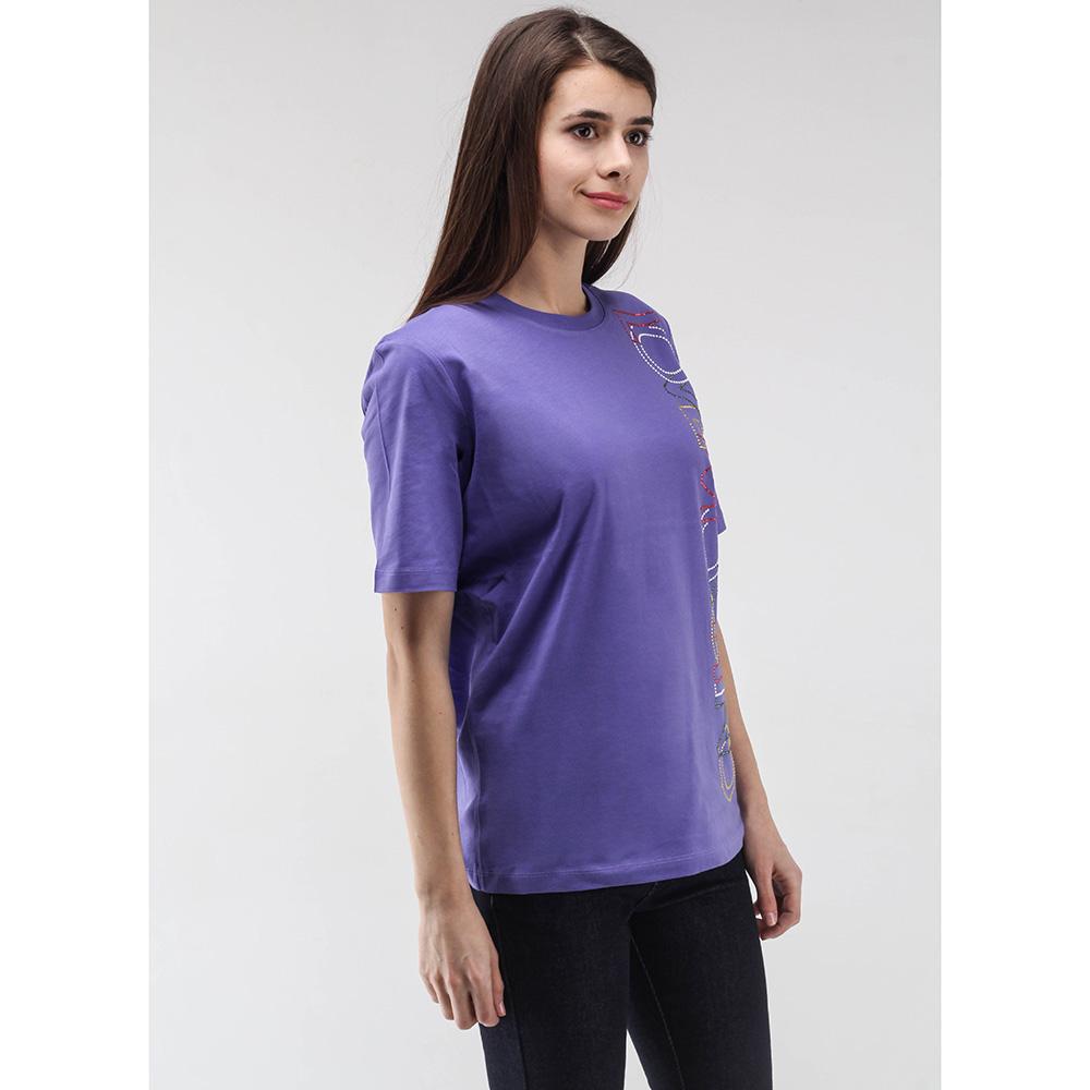 Фиолетовая футболка Love Moschino с аппликацией из страз