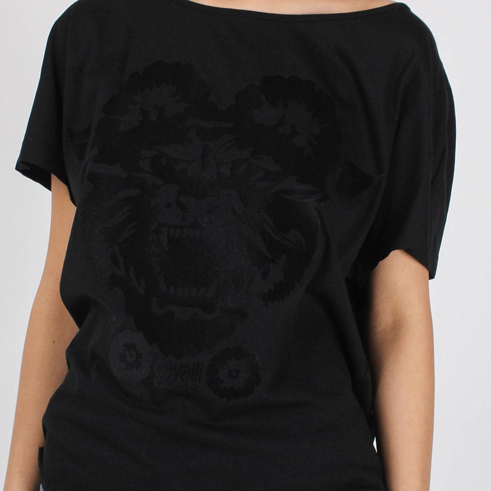 Футболка Cavalli Class черного цвета с брендовой аппликацией