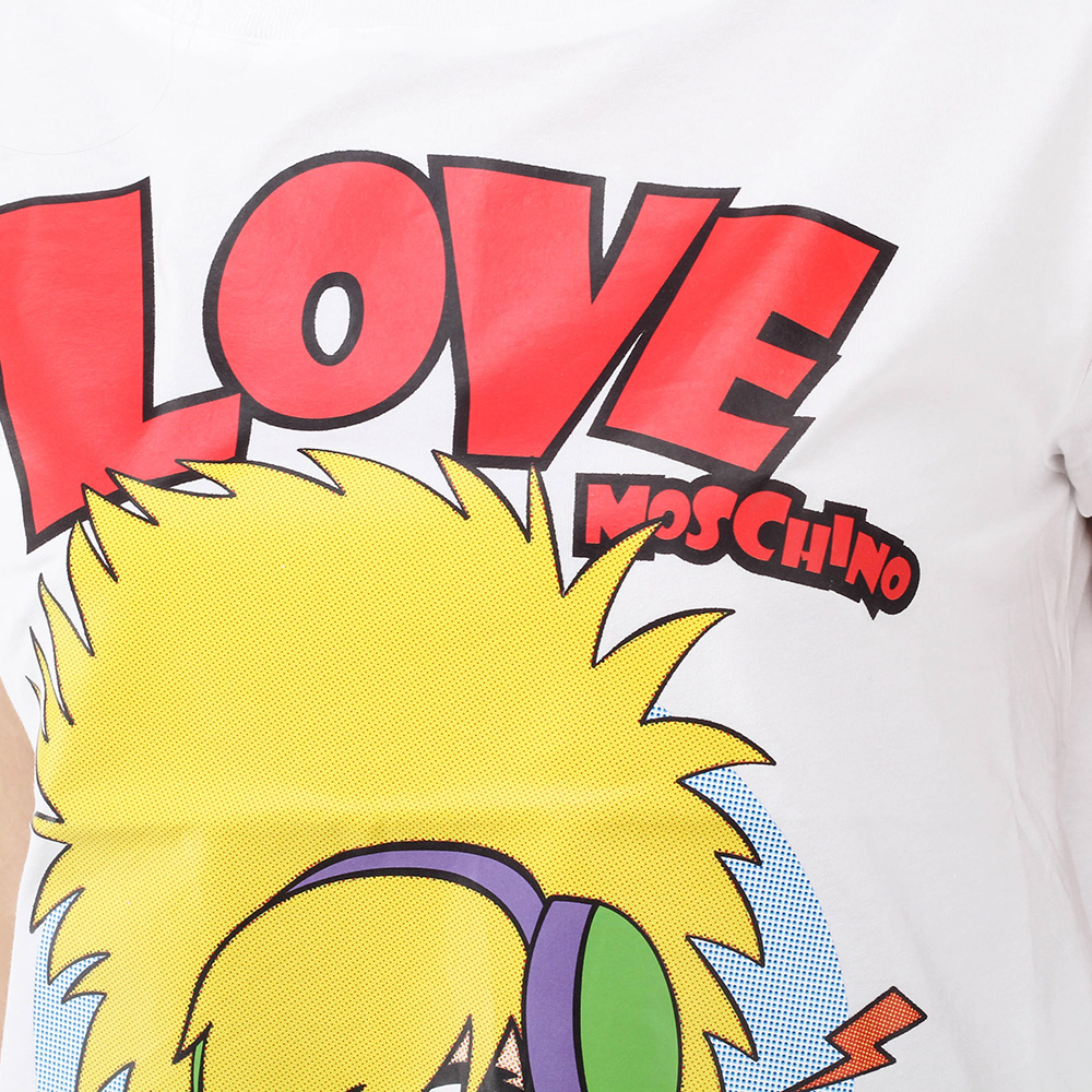 Белая футболка Love Moschino с мультяшным принтом